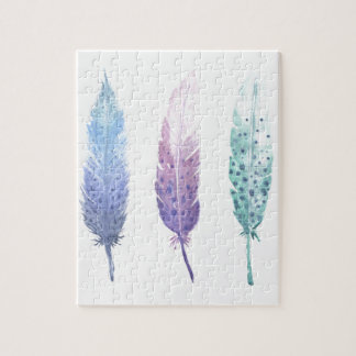 Boho Watercolour Feather Trio Jigsaw Puzzle