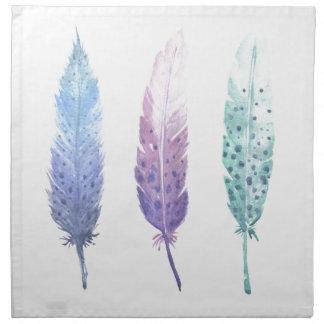 Boho Watercolour Feather Trio Napkin