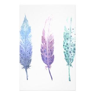 Boho Watercolour Feather Trio Stationery