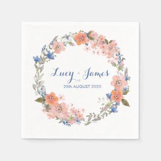 Boho Watercolour Floral Wreath Wedding Napkins Disposable Napkins