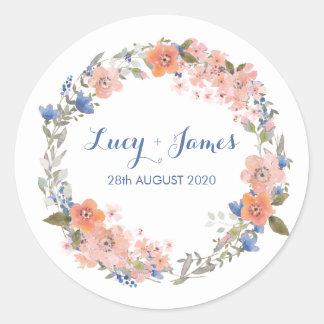 Boho Watercolour Floral Wreath Wedding Stickers