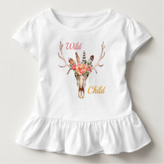 Boho Wild Child Watercolor Roses and Skull Toddler T-Shirt