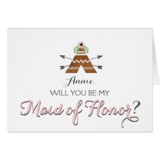Boho Will you be my maid of honor card