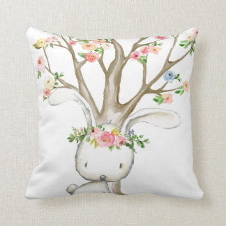 Boho Woodland Bunny Floral Baby Nursery Pillow