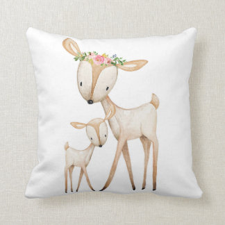 Boho Woodland Deer Nursery Floral Baby Pillow