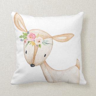 Boho Woodland Deer Watercolor Baby Nursery Pillow