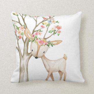 Boho Woodland Floral Deer Baby Girl Nursery Pillow