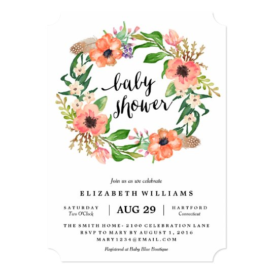 boho wreath baby shower invitation zazzle