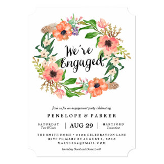 Boho Wreath Engagement Party Invitation