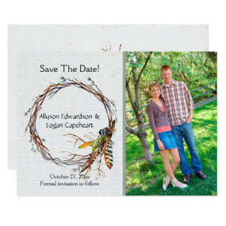 Boho Wreath Feathers Leaves Photo Save The Date | Card