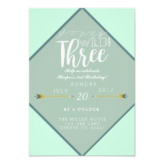 Boho Young Wild & Three | 3rd Birthday Party 13 Cm X 18 Cm Invitation Card