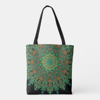 Bohostyle delicate green mandala tote bag