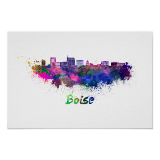 Boise City skyline in watercolor Poster