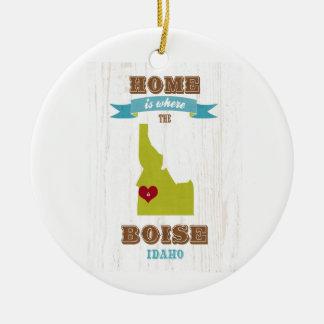 Boise, Idaho Map – Home Is Where The Heart Is Christmas Ornament