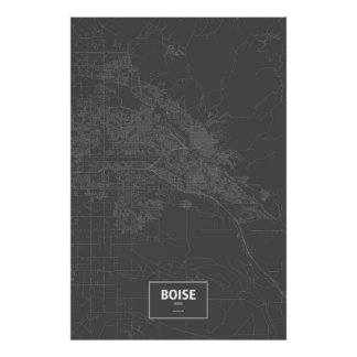 Boise, Idaho (white on black) Poster