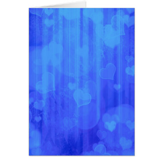 Bokeh 04 hearts blue I Greeting Card