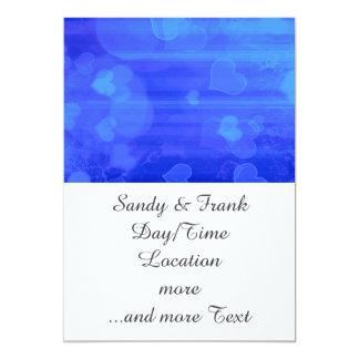bokeh 04 hearts, blue (I) 5x7 Paper Invitation Card