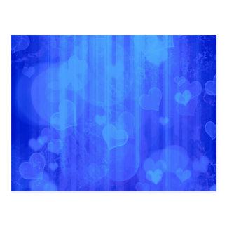 Bokeh 04 hearts blue I Postcards
