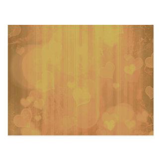 Bokeh 04 hearts golden I Post Card