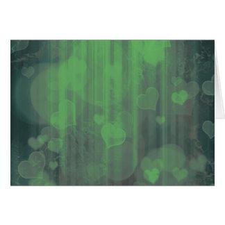 Bokeh 04 hearts green I Cards