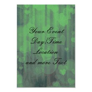 bokeh 04 hearts,green (I) 3.5x5 Paper Invitation Card