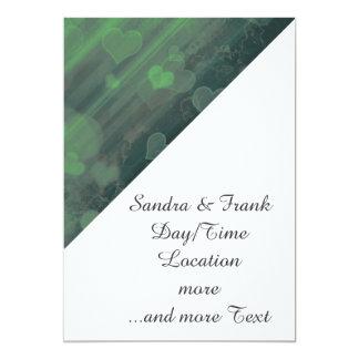 bokeh 04 hearts,green (I) 5x7 Paper Invitation Card
