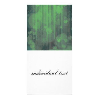 bokeh 04 hearts green I Picture Card