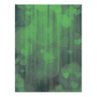 Bokeh 04 hearts green I Postcard