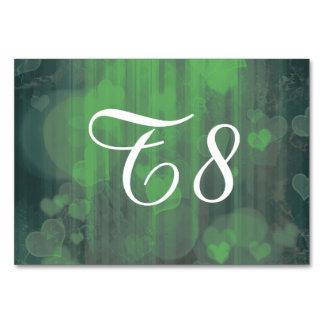 bokeh 04 hearts green I Table Card