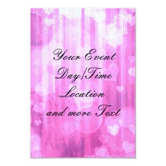 bokeh 04 hearts,pink (I) 9 Cm X 13 Cm Invitation Card