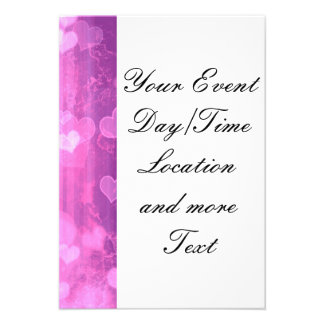 bokeh 04 hearts pink I Invitation