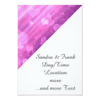 bokeh 04 hearts,pink (I) 5x7 Paper Invitation Card