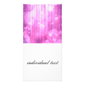 bokeh 04 hearts pink I Personalized Photo Card