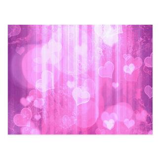 Bokeh 04 hearts pink I Postcard
