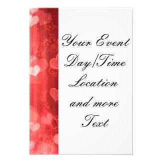bokeh 04 hearts red I Custom Invite