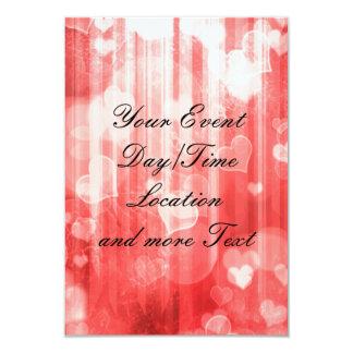 bokeh 04 hearts, red (I) 3.5x5 Paper Invitation Card
