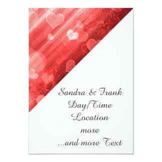bokeh 04 hearts, red (I) 5x7 Paper Invitation Card