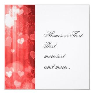 bokeh 04 hearts, red 5.25x5.25 square paper invitation card