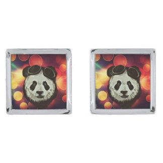 Bokeh Art with Panda Silver Finish Cufflinks
