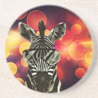 Bokeh Art with Zebra Style Beverage Coasters