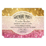 Bokeh Birthday Movie Ticket Style Pink Sparkle Personalized Announcements