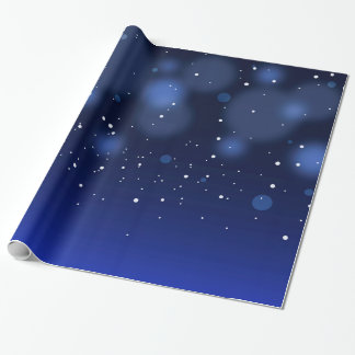 Bokeh Blue Abstract Starry Sky Wrapping Paper