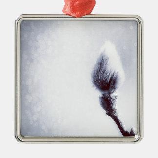 Bokeh Catkin kitten print winter Silver-Colored Square Decoration