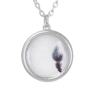Bokeh Catkin kitten print winter Silver Plated Necklace