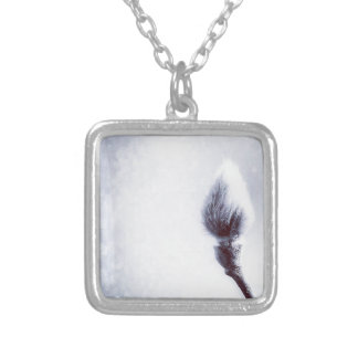 Bokeh Catkin kitten print winter Silver Plated Necklace