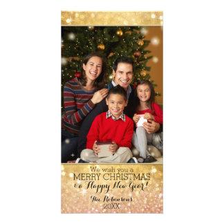 Bokeh Christmas Family Photograph Sparkle Shimmer Photo Greeting Card