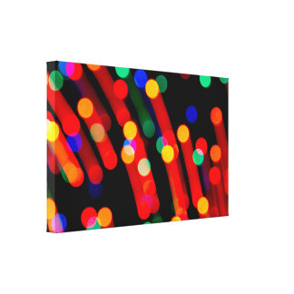 Bokeh Christmas Lights With Light Trails Canvas