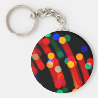Bokeh Christmas Lights With Light Trails Keychain