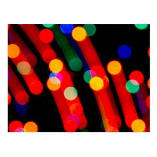 Bokeh Christmas Lights With Light Trails Postcard