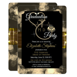 Bokeh Doctor Stethoscope EKG Graduation Party Card